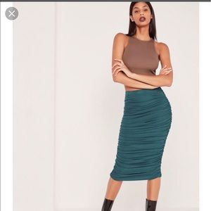 Ribbed ruched Side midi Skirt